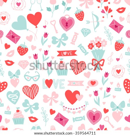 valentine seamless pattern with