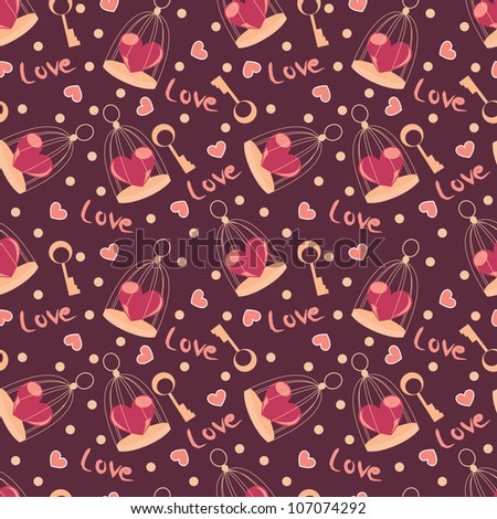 valentine seamless pattern with heart on calls and key
