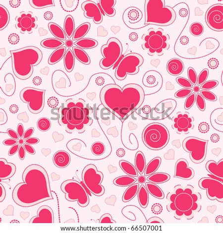 Valentine seamless pattern with hearts and flowers