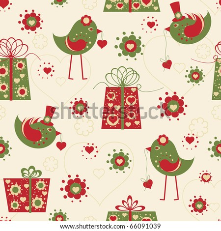 Valentine seamless pattern with hearts, birds and gifts
