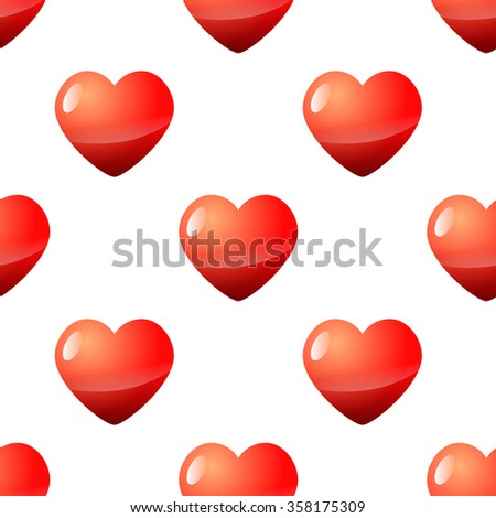 Valentine seamless red heart pattern vector illustration