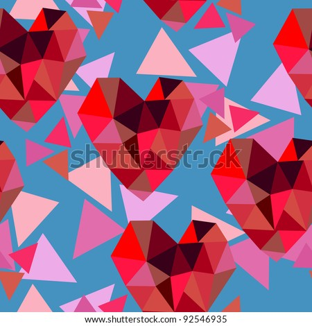 valentine seamless texture with hearts of triangles - stock vector