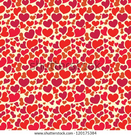 Valentine seamless wallpaper with big set of hearts