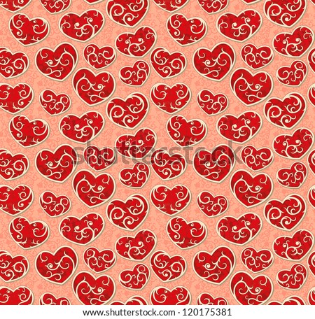 Valentine seamless wallpaper with ornate hearts