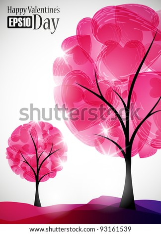 valentine tree, abstract background, eps10