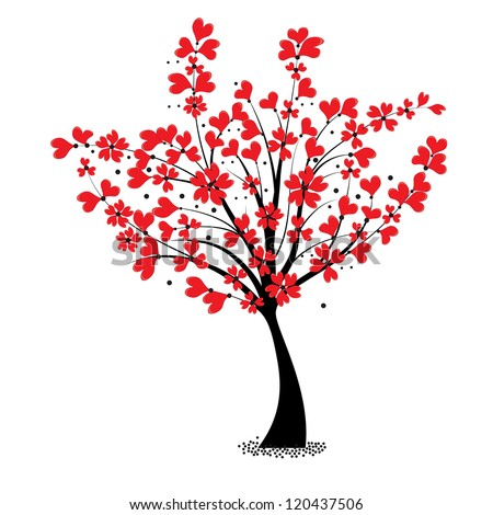 Valentine Tree Vector, Flower Shaped Of Heart. Love Card ...