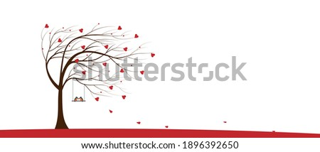 Valentine tree with red heart leaves and couple Kingfisher bird standing on swing on white background, Single Love tree blowing by the wind. Vector minimal greeting card for Valentine or Wedding Foto stock ©