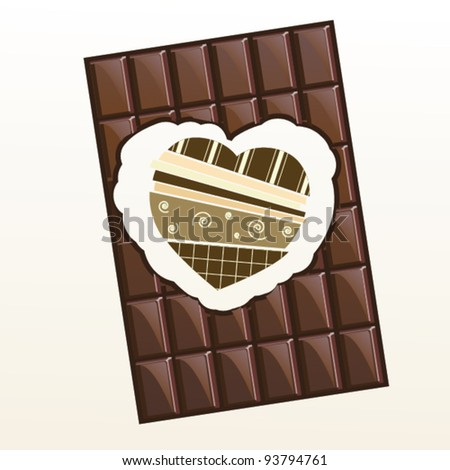 Valentine with  bite marked chocolate bar and heart in scrapbooking style inside