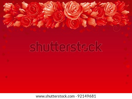 Valentines card. Border of  many red roses with hearts on abstract background.