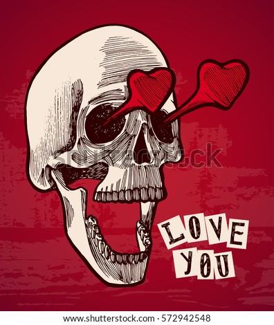 valentines card   vintage skull