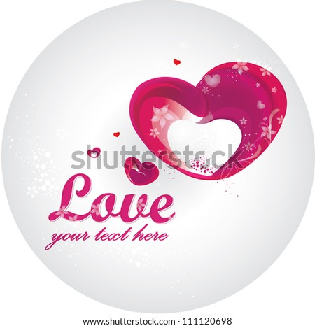 Valentines card with floral hearts - stock vector