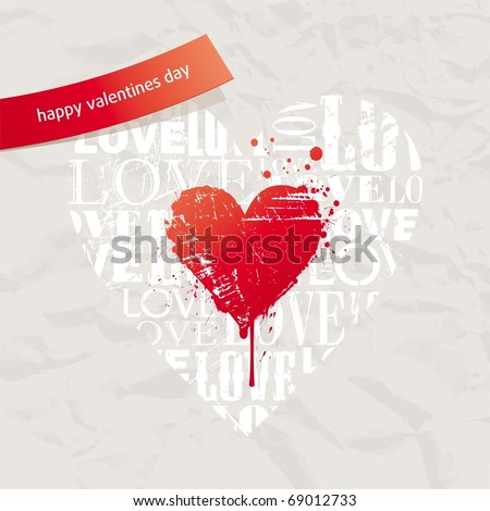 valentines card with grunge