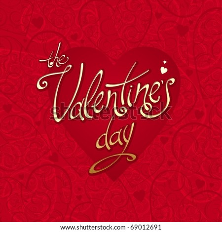 Valentines card with hearts background & calligraphy inscription