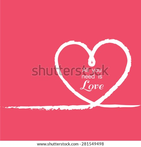 valentines card with line heart