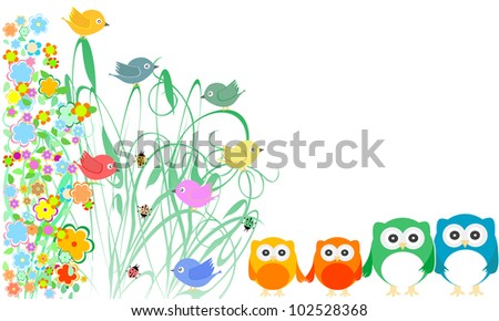 valentines cards with cute birds, owls family and flowers. vector