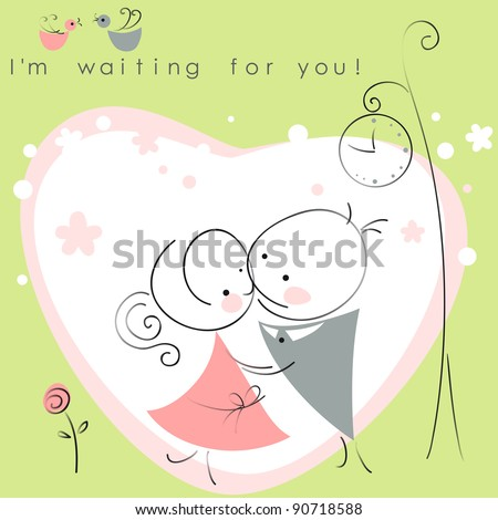 valentines couple,  meet on a date under the clock, green background of heart  . Vector illustration of Valentine card