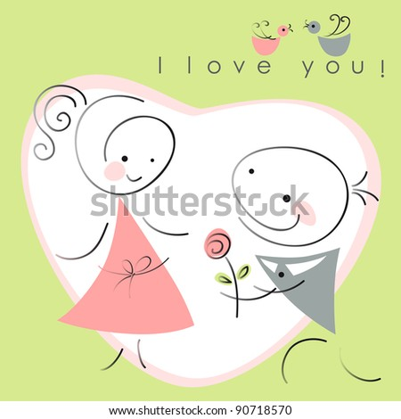 valentines couple,  women and  men with rose on green  background of heart  . Vector illustration of Valentine card