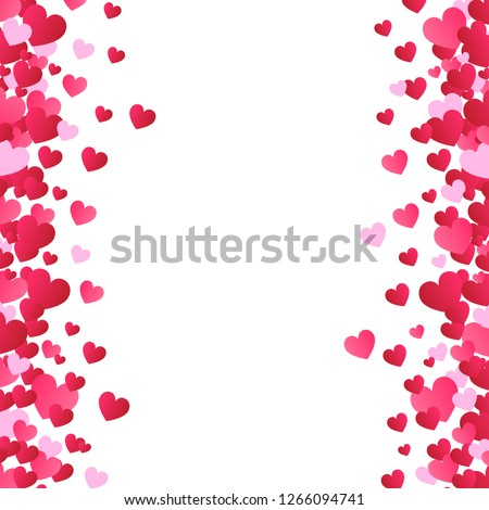 Valentines day background, vector. Red hearts isolated on white background. Valentines day backdrop for web site, love poster, wallpaper and wedding card. Creative art concept, vector illustration #1266094741