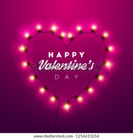 Valentines Day background. Vector retro light sign.  #1256613256