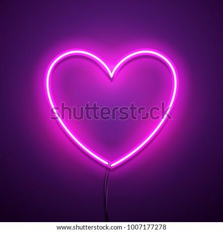 Valentines Day background. Vector retro neon sign.