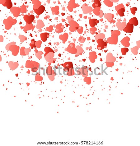 Shutterstock Valentines Day background with confetti in the shape of hearts.