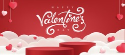 Valentines day background with product display and Heart Shaped Balloons.