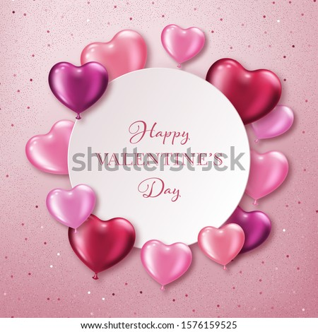 Valentines Day background with realistic heart-shaped balloons. Greeting card, invitation or banner template