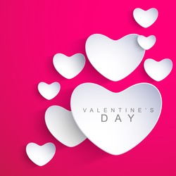 Valentines Day background with sticky in heart shape. EPS 10.
