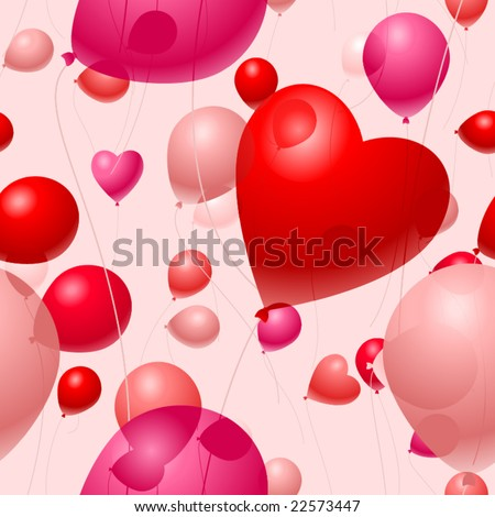 Valentines Day Balloon background seamless vector tile