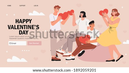 Valentines day banner, advertisemen, landing web page with greeting. Men and women on a blind date. Couple hold heart and search sole mate. People celebrate valentines day together. Romance and love.
