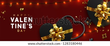 Valentines Day banner. Background design of sparkling lights garland, realistic black gifts box with heart shaped, and glitter gold confetti. Horizontal holiday poster, greeting cards, header, website