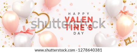 Valentines Day banner. Background design, realistic gifts box with heart shaped, pink and white balloon, glitter gold confetti, rose flower petals. Horizontal poster, greeting cards, headers, website