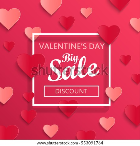 Shutterstock Valentines day big sale background, poster template. Pink abstract background with hearts ornaments. February 14.Vector illustration.