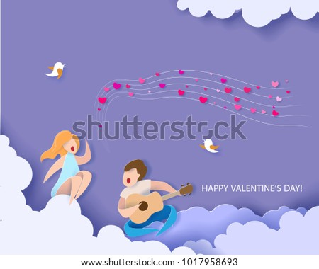 Valentines day card. Abstract background with couple in love singing song. Vector illustration. Paper cut and craft style.