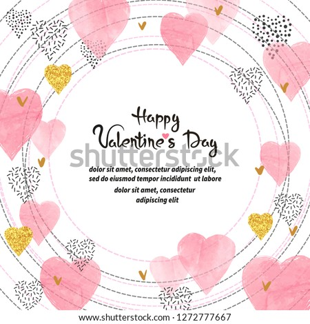 Valentines Day card design. Circle frame with watercolor pink hearts. #1272777667