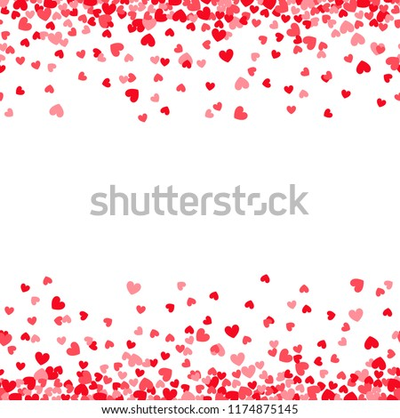 Valentines day card template with pink and red heart borders #1174875145