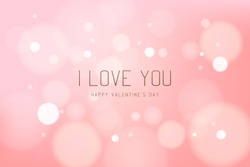 Valentines day card with bokeh and blurred circle soft lights and gold typographic text – Love you on pink background. Happy holiday banner design. Romantic vector illustration.