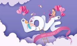 Valentines day card with couple sitting on big letters LOVE and sending red hearts with their smartphones on purple sky background. Vector paper art illustration. Paper cut and craft style.