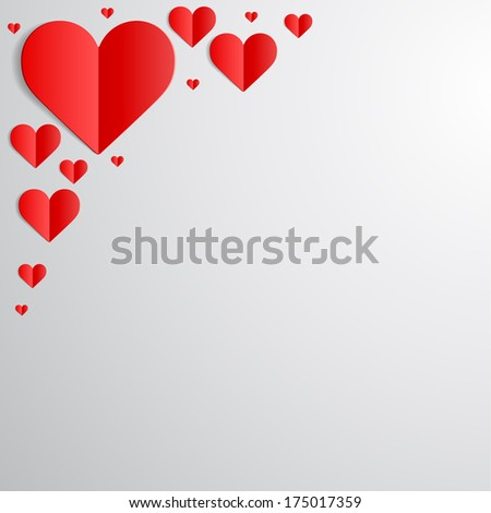 Valentines Day card with cut paper hearts in the corner #175017359