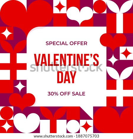 Valentines day card with discount offer. Valentine's Day sale background with gifts and hearts. Vector illustration for social media, website, posters, coupons, promotional materials.