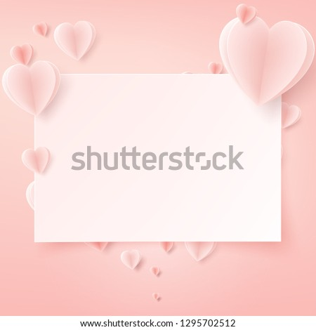 Valentines day card with heart paper art,Paper art concept background.