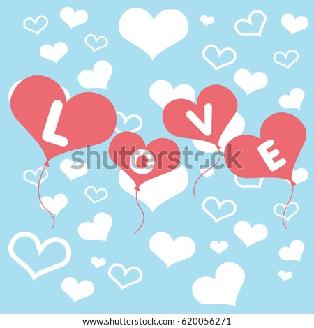 Valentines day card with hearts balloons. Vector Illustration. #620056271