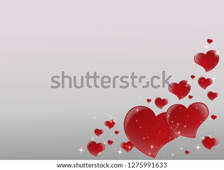 12ded633695 Valentines Day Card with mirrored shiny red hearts frame with 3d effect  bright gray background with