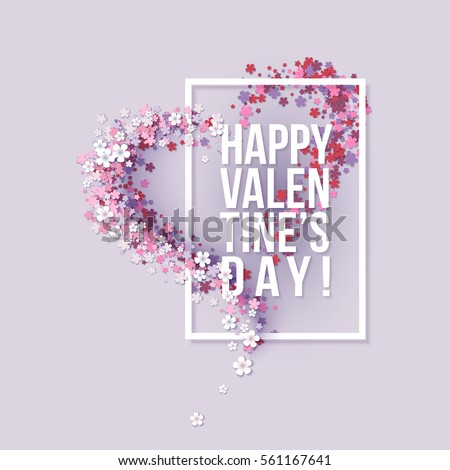valentines day card with pink