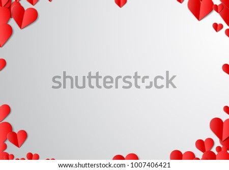 Valentines Day card with scattered cut paper hearts #1007406421
