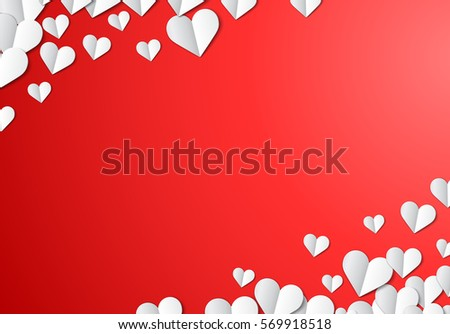 Valentines Day card with scattered cut paper hearts #569918518
