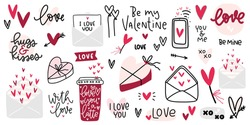 Valentines day clipart with beautiful hand lettering messages about love, candy box, coffee cup, romantic letters and heart clipart vector images.