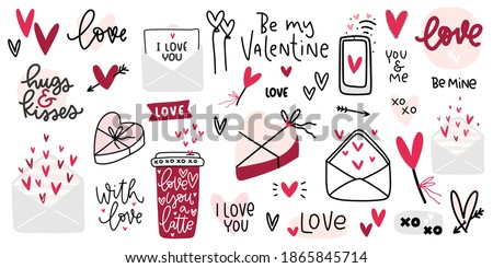 Valentines day clipart with beautiful hand lettering messages about love, candy box, coffee cup, romantic letters and heart clipart vector images.  Foto d'archivio ©