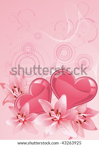 Valentines Day design pink. Vector illustration.