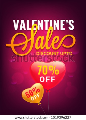 Valentines Day Discount Banner with Red and Golden Hearts Balloon.